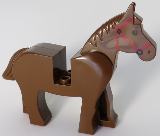 LEGO System Brown Horse with Red Saddle printed red bridle and black mane