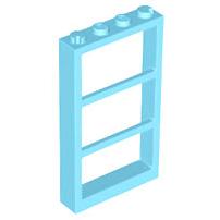 1x Lego Window Frames Cream White Transparent Light Blue 1x4x5 2493c02