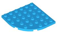 5 parts Lego black plate round corner 6x6 6003