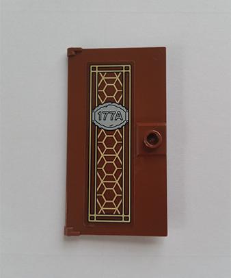 LEGO Reddish Brown 1x4x6 Door with Gold Pane