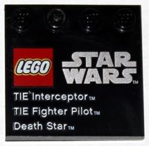 LEGO PART 6179PB041 BLACK TILE MODIFIED 4 X 4 STAR WARS SET 9676 TIE FIGHTER X 2