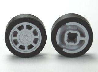 LEGO 93593//50945 11mm RUOTA D X 6mm X 6mm 8 raggi con pneumatico nero 14mm D