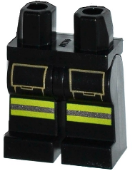 Lego Black Hips and Legs with Tan Pockets Lime and Silver Reflective Stripes