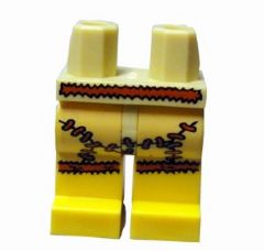 Lego Tan Hips and Yellow Legs with Tan Animal Skin Skirt Cave Woman Pattern NEW