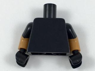 Lego New Black Torso Plain Medium Flesh Arms with Black Short Sleeves Pattern