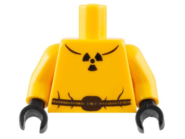 Lego Bright Light Orange Torso Safety Suit w// Belt Radioactivity Warning Pattern