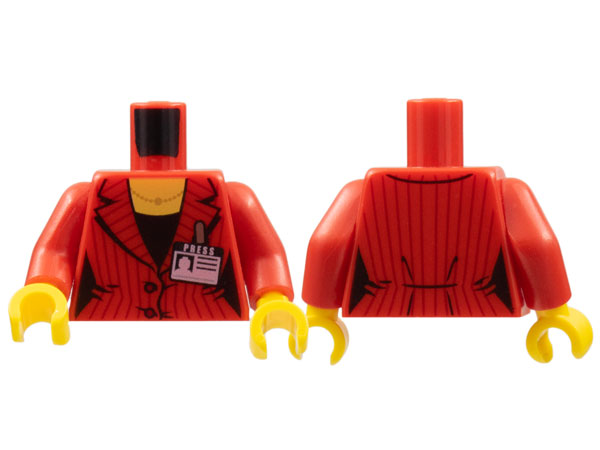 Lego 6 Torso Body For Female Girl Minifigure Red Suit Jacket Press Badge
