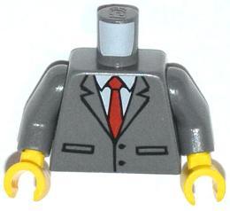 Lego Dark Bluish Gray Torso Suit Jacket Buttoned Red Tie Lapel Mic Pattern