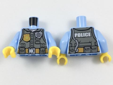 LEGO Minifigure Torso 488 DARK GREEN Male Wrapped Vest Blue Shirt Gray Tied Belt