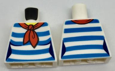 Lego New White Minifig Torso Female Shirt Red Scarf and 5 Dark Azure Stripes