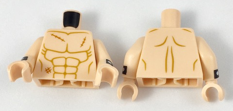 LEGO LIGHT FLESH Torso Bare Chest w// Muscles dark outlines front and back