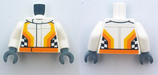 1x Lego Figur Torso orange bedruckt Jacke twn305 Set 4207 973pb0906c01