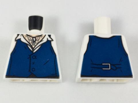 Lego New White Torso Shirt with Dark Blue Vest Claw Necklace Piece