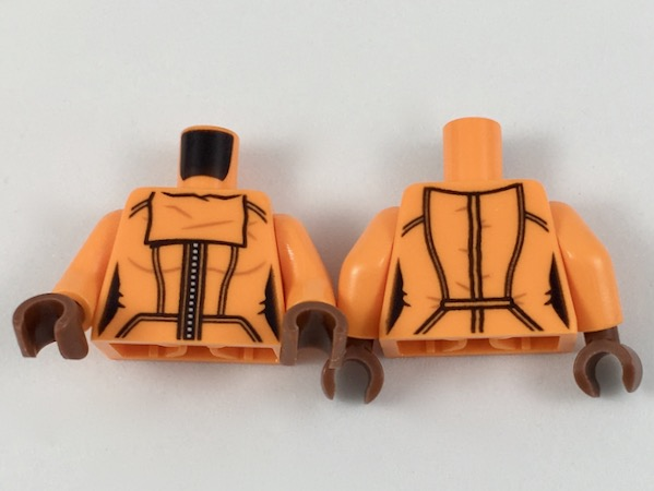 Lego New Orange Torso with White Fur Pattern Orange Arms Black Hands Piece