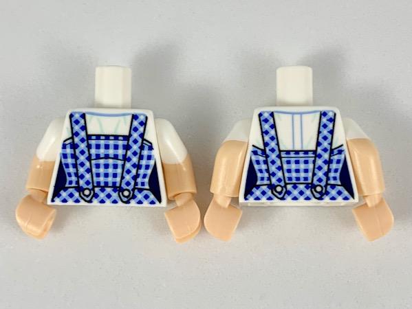 Lego White Torso Female Dark Blue and Bright Light Blue Gingham Dress Pattern
