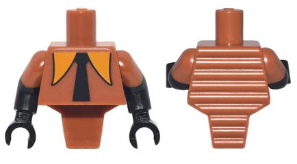 Lego New Minifigure Dark Orange Torso Wide Black Tie Dark Orange Short Sleeves