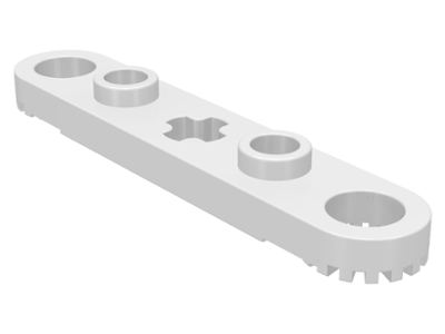 Light Grey Lego 5 x Technic Flat Plate 2 x 8 with 7 Axle hole