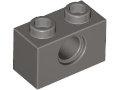 6 X LEGO 3700 Brick Hole Dark Grey Technic Brick 1x2 Hole new New