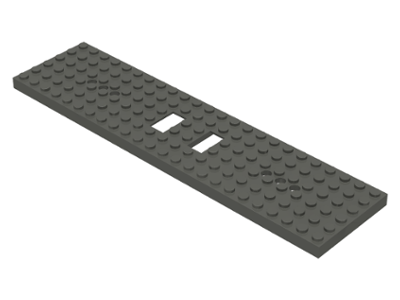 LEGO 92088 White Train Base 6 x 24 with 2 Square Cutouts and 3 Round Holes Each