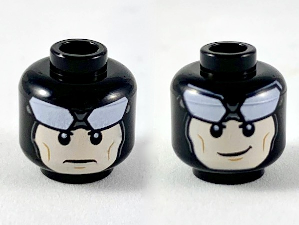 Lego Minifigure, Head Dual Sided Balaclava, Large White Goggles, Light Flesh Face, Neutral / Grin Pattern - Hollow Stud