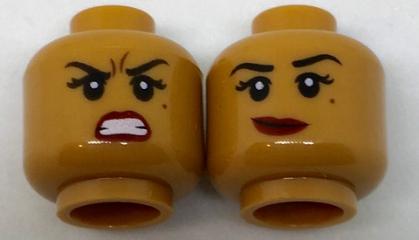 Lego Yellow Minifig Head Dual Sided Female Medium Nougat Lips Crooked Smile