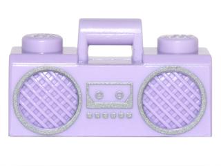 Lego Lavender Minifig Utensil Radio Boom Box with Handle Silver Trim Pattern