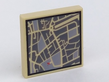 Lego Tile 2 x 2 with Map Street Level with Red 'X' Pattern
