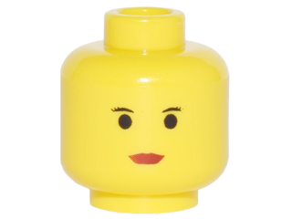Lego Minifigure, Head Female with Red Lips, Small Eyebrows Pattern - Blocked Open Stud