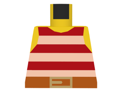 Pirate Stripes Red with Rope Belt Pattern Lego Male Pirate Minifig Torso