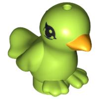 Lego New White Bird Small with Black Eyes and Bright Light Orange Beak Pattern