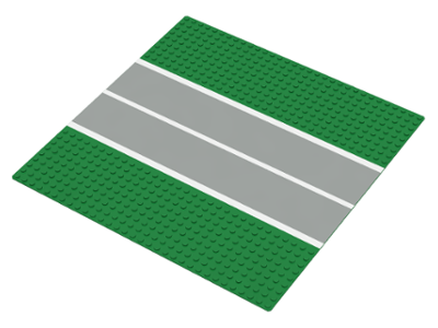 Curved Runway part Vintage Green Lego 32x32 Road Baseplate