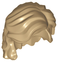 Lego Minifig, Hair Mid-Length Wavy with Center Part and Sidelocks