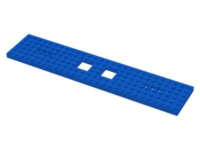 LEGO Train Base Blue 6 x 28 Square Cutouts 2x2 /& 3 Holes 92339