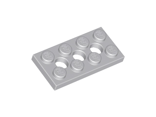 Plate 2 x 4 with 3 Holes 2 X Lego 3709b Technic Light gray