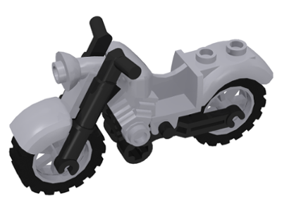 Motorcycle Vintage Black Chassis Light Gray Wheels 85983c01 Choose Color Lego