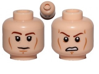 Lego Minifig, Head Dual Sided Brown Eyebrows, Black Eyes with Pupils, Wrinkles, Sad / Scared  Pattern (SW Anakin) - Stud Recessed