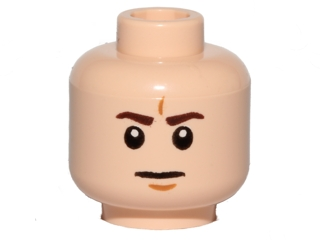 Lego Minifig, Head Dark Brown Eyebrows, White Pupils, Frown, Furrowed Eyebrows Pattern - Hollow Stud