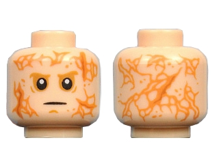 Lego Minifig, Head Male Scars Front and Back, White Pupils, Black Thin Mouth Pattern - Hollow Stud