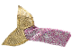 Part No: 51155  Name: Belville Fishtail for Child with Gold Fins, Dark Pink Spots, Silver Overlay Pattern