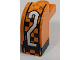 Part No: BA144pb01  Name: Stickered Assembly 2 x 1 x 1 2/3 with White Number 2 on Black and Orange Checkered Pattern (Sticker) - Set 8641 - 1 Brick, Modified 1 x 2 x 1 1/3 with Curved Top, 1 Plate 1 x 1