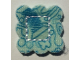 Part No: bb0749pb01  Name: Cloth Sewing, Square, Scalloped Edges, Stiched Square in Center, Stars and Butterflies Pattern