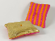 Part No: bb0962pb01  Name: Belville Cloth Pillow 6 x 7 Gold with Magenta / Orange Stripes on Reverse Pattern