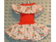 Part No: x32pb02  Name: Scala, Clothes Female Dress with Green/Pink Flower Pattern and Red Neck Ribbon