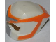 Part No: 11265pb01  Name: Minifigure, Headgear Helmet Space with Open Visor Small and Orange and Silver Markings Pattern