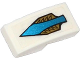 Part No: 11477pb009  Name: Slope, Curved 2 x 1 with Blue Arrow and Gold Feathers Pattern (Sticker) - Set 70124