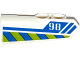 Part No: 11946pb016  Name: Technic, Panel Fairing #21 Very Small Smooth, Side B with '98', Blue Line and Blue and Lime Danger Stripes Pattern (Sticker) - Set 42047
