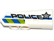 Part No: 11946pb017  Name: Technic, Panel Fairing #21 Very Small Smooth, Side B with Silver Star, 'POLICE' and Blue and Lime Danger Stripes Pattern (Sticker) - Set 42047