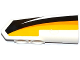 Part No: 11946pb018  Name: Technic, Panel Fairing #21 Very Small Smooth, Side B with Yellow, Orange and White Stripes on Black Background Pattern (Sticker) - Set 42044