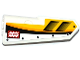 Part No: 11946pb019  Name: Technic, Panel Fairing #21 Very Small Smooth, Side B with Air Intakes, 'NO STEP' and Yellow, Orange and White Stripes Pattern (Sticker) - Set 42044