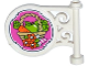 Part No: 13459pb003  Name: Road Sign Round on Pole with Carrot and Apple in Basket and Flowers Pattern on Both Sides (Stickers) - Set 41108